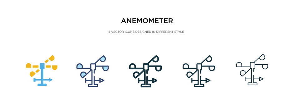 anemometer icon in different style vector illustration. two colored and black anemometer vector icons designed in filled, outline, line and stroke style can be used for web, mobile, ui