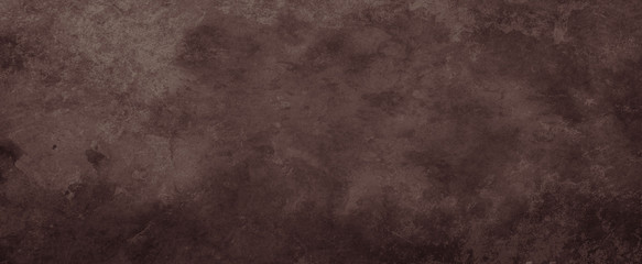 Old brown background with distressed vintage grunge texture and watercolor paint blotch design in dark earthy chocolate or coffee brown colors
