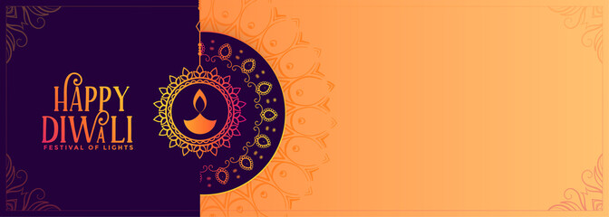 elegant happy diwali banner with text space