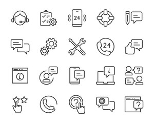 set of support icons, help, communication, info, customer service
