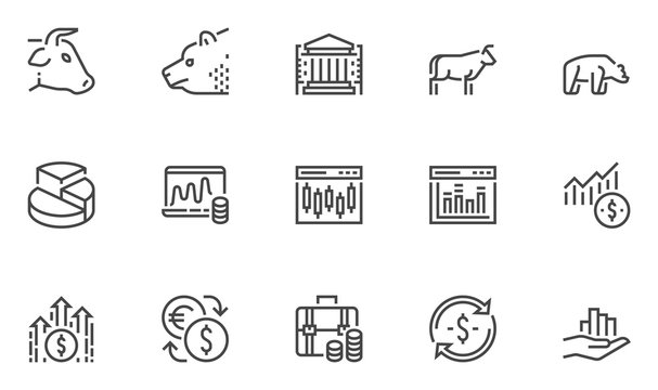Stock market vector line icons set. Stock quotes, finance, trading, money management. Editable stroke. 48x48 Pixel Perfect.