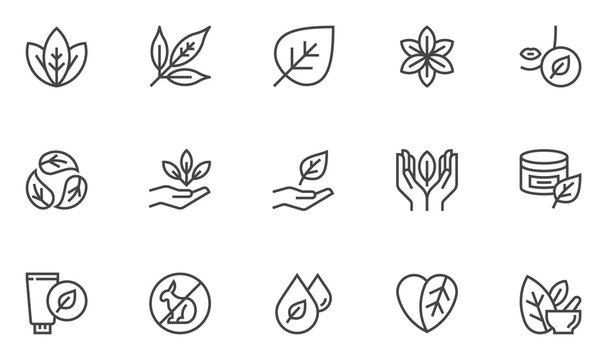 Natural and organic cosmetics vector line icons set. Skincare, no synthetic fragrance and colors, no animal testing. Editable stroke. 48x48 Pixel Perfect.