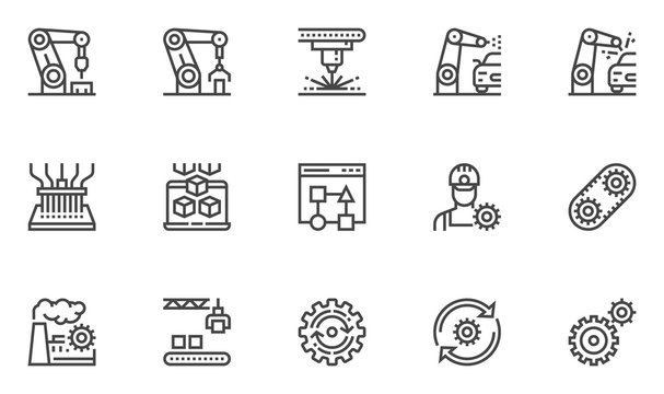 Automation vector line icons set. Improving productivity, productive workflow, mass production, robot manipulator. Editable stroke. 48x48 Pixel Perfect.