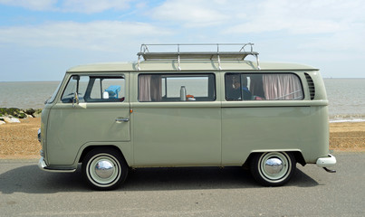 Classic Grey VW  Camper Van Parked on Seafront Promenade