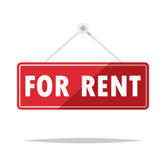 For rent hanging sign vector isolated illustration