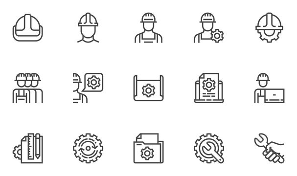 Engineering vector line icons set. Manufacturing, engineer, blueprint. Editable stroke. 48x48 Pixel Perfect.