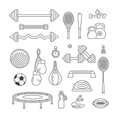 Sports equipment linear vector icons set. Fitness workout