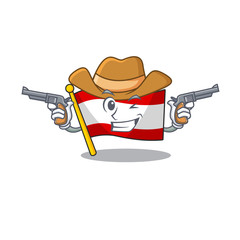 Cowboy flag austria isolated with the mascot