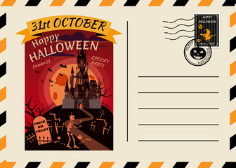 Fotobehang Graffiti collage Happy Halloween Postcard invitation template with Postage Stamp background design