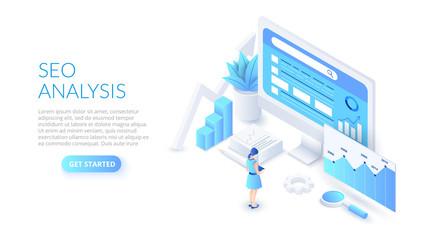 Obraz Seo analysis design concept. Isometric vector illustration. Landing page template for web. - fototapety do salonu