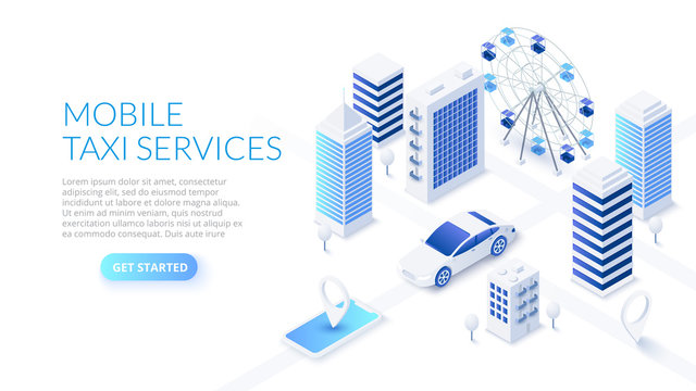 Mobile taxi service design concept with smartphone, car and city. Isometric vector illustration. Landing page template for web.