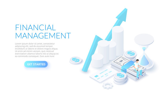 Financial management design concept with sitting man, money and hourglass. Isometric vector illustration. Landing page template for web.