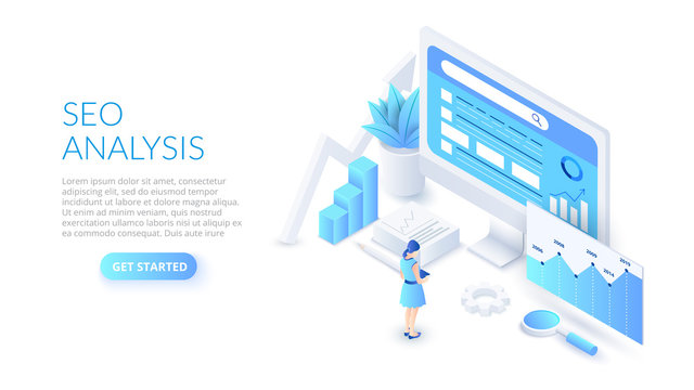 Seo analysis design concept. Isometric vector illustration. Landing page template for web.