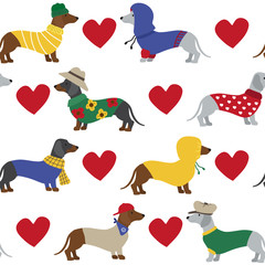 Cute dachshund dog with red heart seamless pattern - 293955754