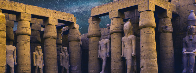 Foto op Plexiglas Bedehuis Karnak Temple, Colossal sculptures of ancient Egypt in the Nile Valley in Luxor, Embossed hieroglyphs on the wall