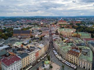 Fototapeta Grodzka street in Krakow from a bird's eye view, Poland