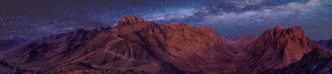 Canvas Prints Bordeaux Amazing Sunrise at Sinai Mountain, Beautiful dawn in Egypt, Beautiful view from the mountain
