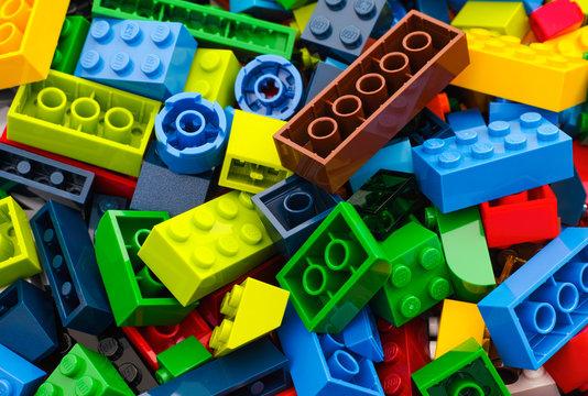 Tambov, Russian Federation - March 24, 2015 Heap of multicolor Lego blocks and bricks. Studio shot.