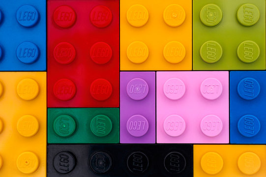Tambov, Russian Federation - September 22, 2016 Background of different colors Lego bricks. Studio shot.