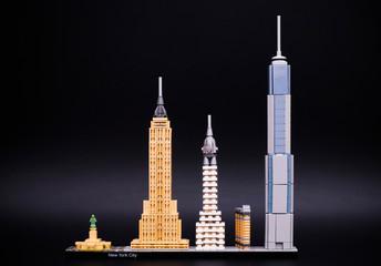 Tambov, Russian Federation - December 26, 2016 Lego Architecture New York City. Black background. Studio shot.