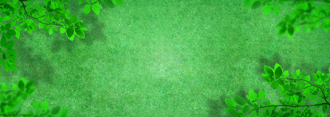 Foto auf Leinwand Olivgrun Outdoor gardening design : Top view of green artificial grass in outdoor garden with green leaves.