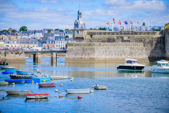 Boats and ships in the port of Concarneau. Brittany. France