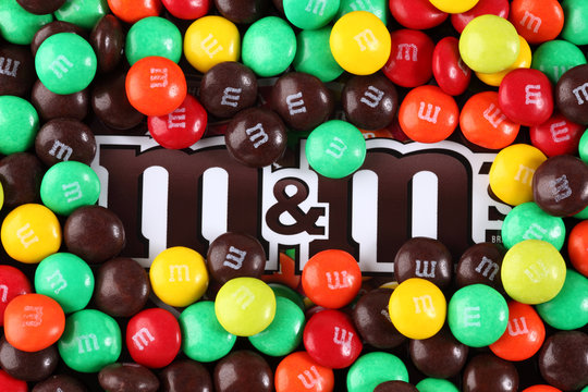 Tambov, Russian Federation - August 26, 2012 M&M's candy on M&M's brand. M&M's produced by Mars, Incorporated