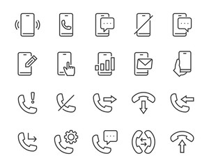 set of phone icons, smart phone, call, talk