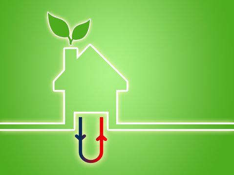 Haus Illustration mit Geothermie Heizsystem