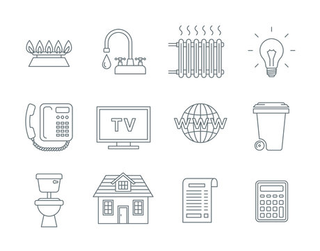 Household services utility payment bill line icons
