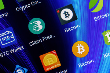 Adygea, Russia - February 12, 2018: mobile application for bitcoin on the smartphone screen