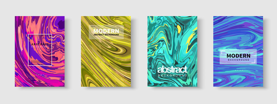 Liquid dynamic lined gradient waves. Fluid marble texture. Colorful abstract geometric background. Modern covers set. Flat vector illustration