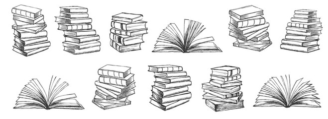 Books. Hand drawn illustration in sketch style.