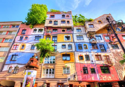 Hundertwasser house facade in Vienna, Austria