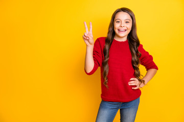 Portrait of positive cheerful expression funny funky kid have fun on autumn holidays vacation make...