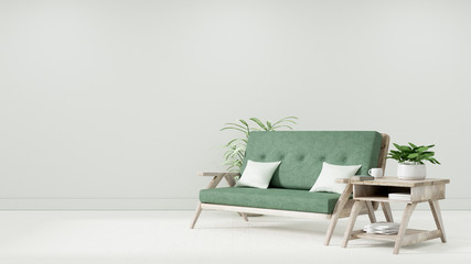 Modern vintage interior of living room, Armchair with light green cushion - 3D Rendering