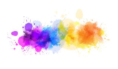 Multicolored splash watercolor blot line