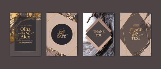 Modern card design. Marble texture. Gold, white, beige colors brochure, flyer, wedding invitation template. Business identity style. Geometric shape. Vector.