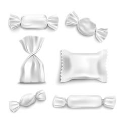 White candy wrapper mockup set isolated on white background,