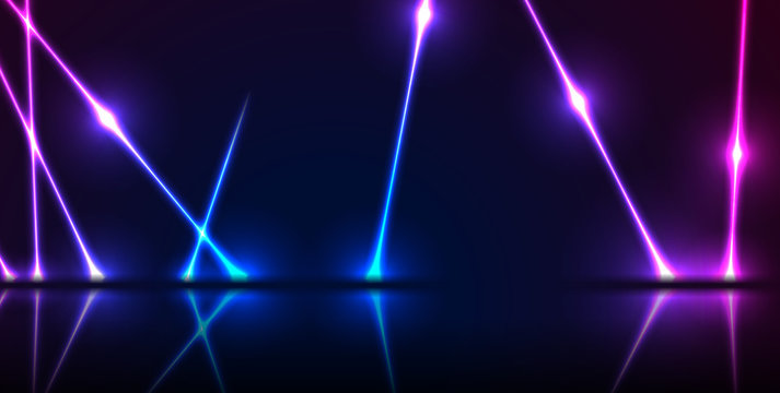 Blue and ultraviolet neon laser lines with reflection. Abstract rays technology retro background. Futuristic glowing graphic design. Modern vector illustration