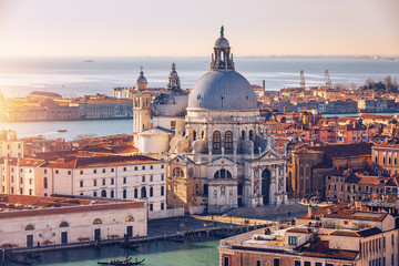 Tuinposter Venice Aerial View of the Grand Canal and Basilica Santa Maria della Salute, Venice, Italy. Venice is a popular tourist destination of Europe. Venice, Italy.