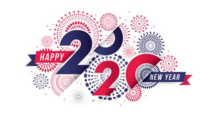 Vector illustration of  fireworks. Happy new year 2020 theme Fototapete