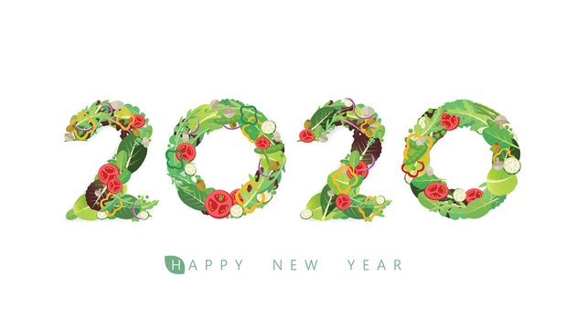 Vector Happy New Year 2020  text design with salad concept isolated on white background.
