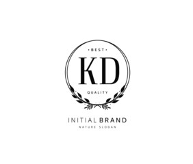 K D KD Beauty vector initial logo, handwriting logo of initial signature, wedding, fashion, jewerly, boutique, floral and botanical with creative template for any company or business.