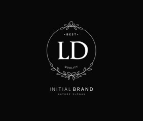 Fototapeta L D LD Beauty vector initial logo, handwriting logo of initial signature, wedding, fashion, jewerly, boutique, floral and botanical with creative template for any company or business. obraz