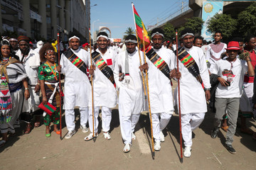 Ethiopian men dressed in traditional costumes take part in the Irreecha celebration, the Oromo People thanksgiving ceremony in Addis Ababa