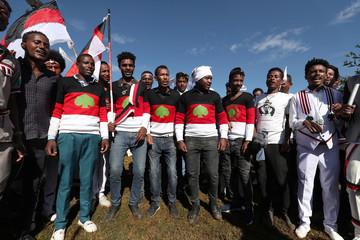 Ethiopian men take part in the Irreecha celebration, the Oromo People thanksgiving ceremony in Addis Ababa
