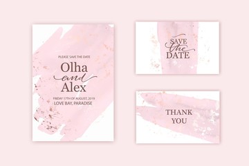 Rose gold and blush watercolor texture card. Pale hand painted brush stroke. Wedding, thank you card, invitation template.