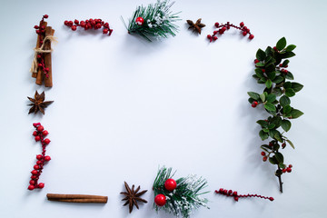 Christmas frame made with mistletoe, anise and cinnamon on white background. Copy space