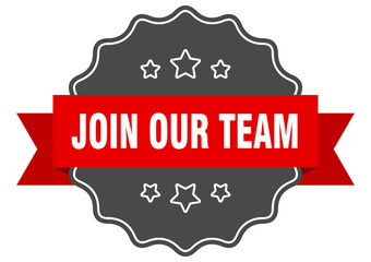 join our team red label. join our team isolated seal. join our team